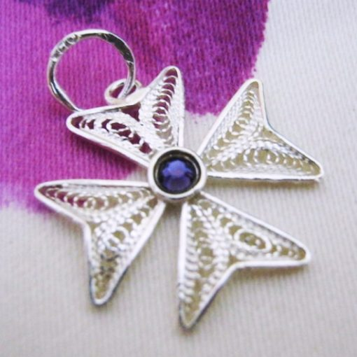 Maltese Cross filigree pendant Sterling Silver 2cm purple