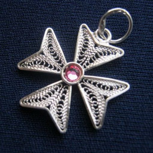 Maltese Cross filigree pendant Sterling Silver 2cm pink