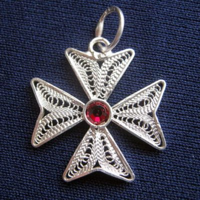 Maltese Cross filigree pendant Sterling Silver 2cm red