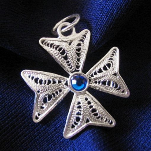 Maltese Cross filigree pendant Sterling Silver 2cm dark blue
