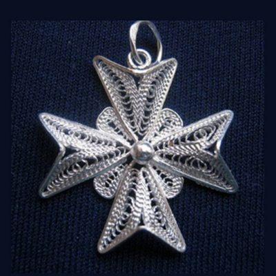 Maltese Cross filigree pendant Sterling Silver 2.5cm