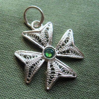 Maltese Cross filigree pendant Sterling Silver 2cm green