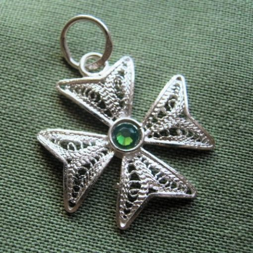 Maltese Cross filigree pendant Sterling Silver 2cm green