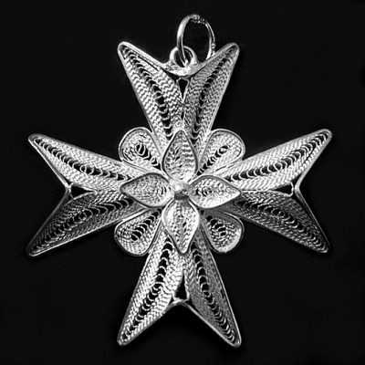 Maltese Cross filigree pendant Sterling Silver 3.5cm