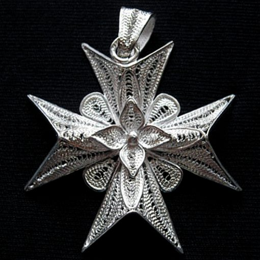Maltese Cross filigree pendant Sterling Silver 4cm