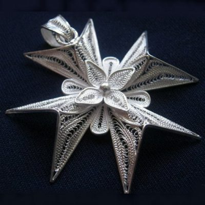 Maltese Cross filigree pendant Sterling Silver 5cm
