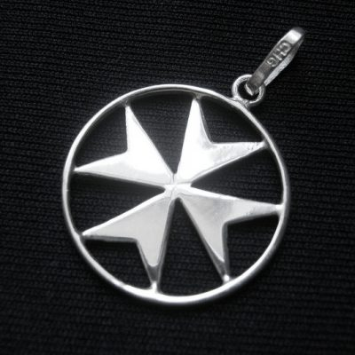 Maltese Cross flat Sterling Silver pendant 23mm