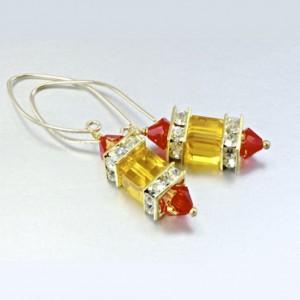 14K gold filled earrings Swarovski crystal MARIGOLD