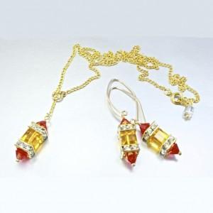 14K gold filled earrings 18K GF necklace set Swarovski MARIGOLD