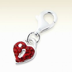 Padlock clip on charm Sterling Silver crystal