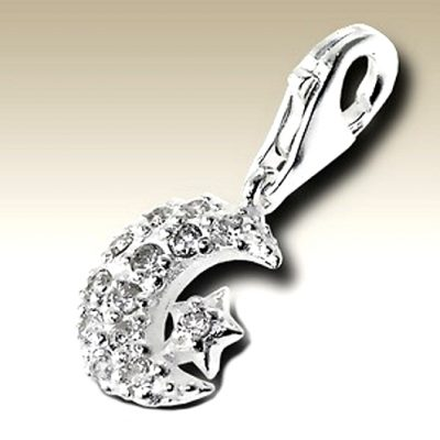 Moon Star clip on charm Sterling Silver