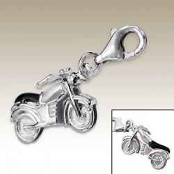 Motorbike 3D clip on charm Sterling Silver