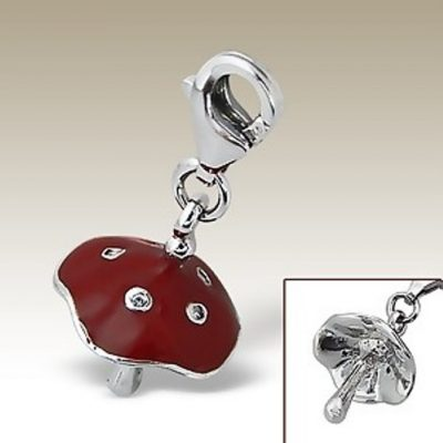 Mushroom clip on charm Sterling Silver