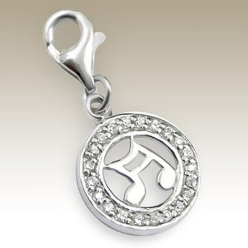 Musical Note clip on charm Sterling Silver