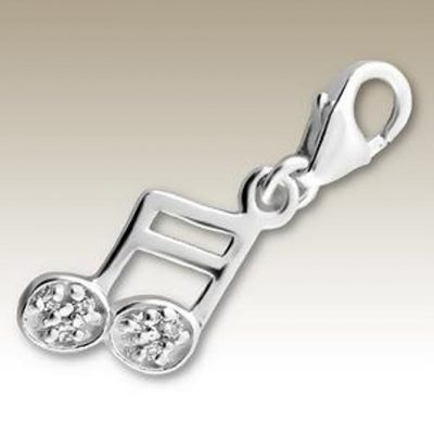 Musical note Quaver clip on charm Sterling Silver