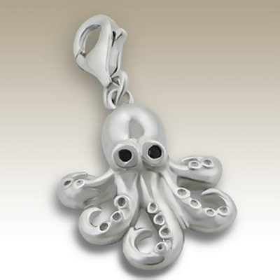 Octopus clip on charm Sterling Silver