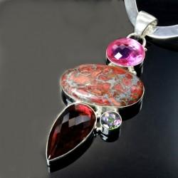 Sterling Silver necklace pendant Garnet Jasper Mystic Topaz