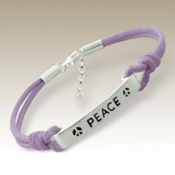 Sterling Silver Bracelet inspirational tag PEACE cord Purple