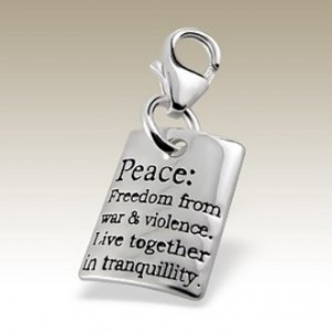Peace clip on charm Sterling Silver