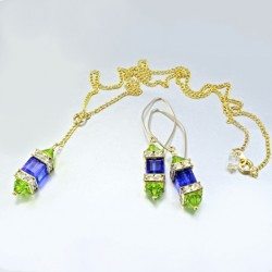 14K gold filled earrings 18K GF necklace Set Swarovski PEACOCK I