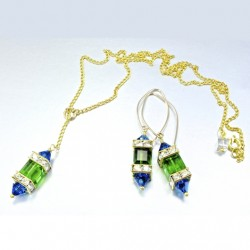 14K gold filled earrings 18K GF necklace set Swarovski PEACOCK II