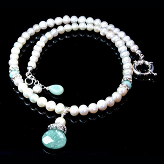 Pearl Necklace Earrings Set Aquamarine Sterling Silver