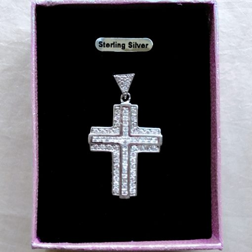 Sterling Silver Cross pendant zirconia