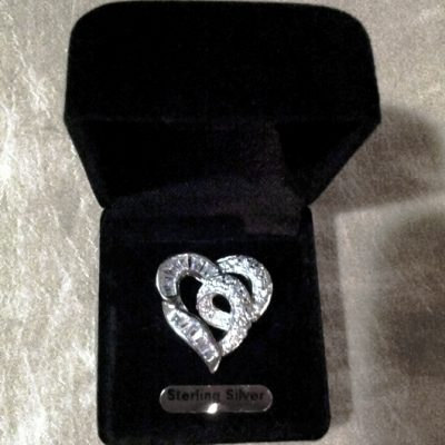 Sterling Silver Heart pendant baguette brilliant cut zirconia