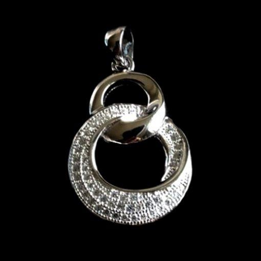 Sterling Silver pendant Round Swirl design zirconia