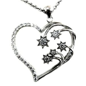 Sterling Silver medium Southern Cross pendant clear stones.