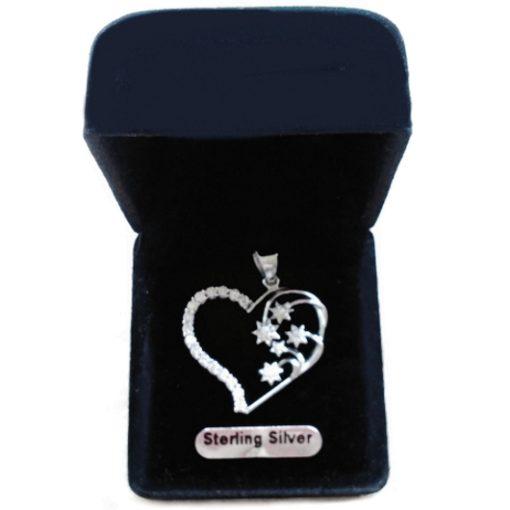 Sterling Silver Southern Cross heart pendant 2.5cm clear