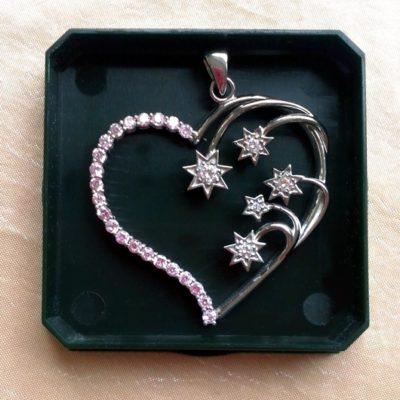 Sterling Silver Southern Cross heart pendant 4.5cm pink