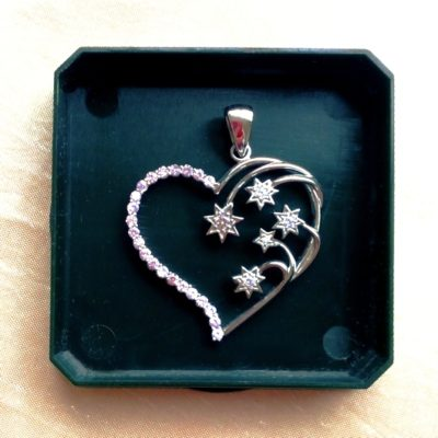 Sterling Silver Southern Cross heart pendant 3.5cm pink