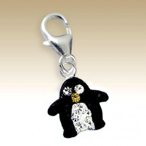 Penguin clip on charm Sterling Silver crystal