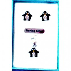 Penguin earrings charm Set Sterling Silver crystal