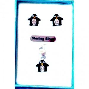Penguin earrings charm Set Sterling Silver crystal