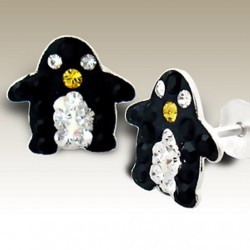 Penguin stud earrings Sterling Silver crystal