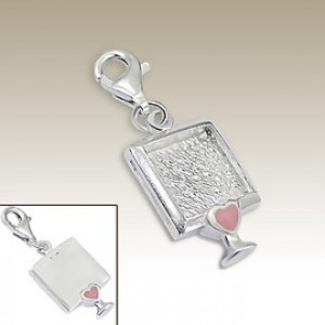 Picture Frame clip on charm Sterling Silver pink heart