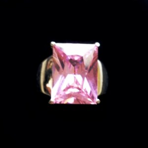 14 carat emerald cut pink zirconia ring Sterling Silver