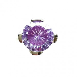 12 carat solitaire purple zirconia ring Sterling Silver