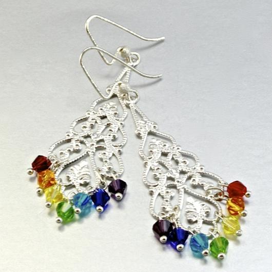 Swarovski Crystal Earrings Necklace Set Rainbow Gemstones
