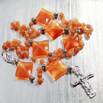 Rosary beads red Aventurine Carnelian