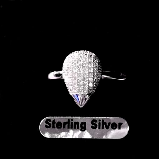 Ring pave set zirconia Sterling Silver PEAR