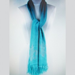 Fleur de lis scarf turquoise blue