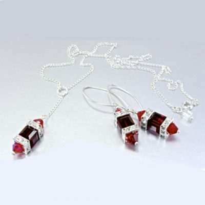 Sterling Silver earrings necklace set Swarovski SIAM
