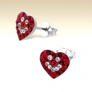 Smiley Heart stud earrings Sterling Silver crystal