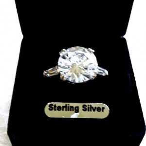 7 carat solitaire zirconia ring Sterling Silver