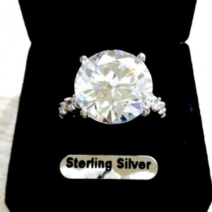 12 carat solitaire zirconia ring Sterling Silver