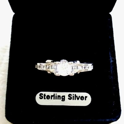 0.75 carat solitaire zirconia ring Sterling Silver