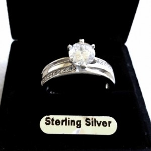 1 carat solitaire zirconia ring Sterling Silver